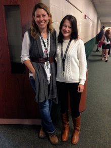 Mrs. Garee and Ms. Murphy posing in their trendy fall clothes. Photo by J. Swickard