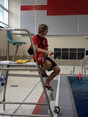 Head Lifeguard Mat Scott ('15) watching the pool at Denison University. Photo by R. White.